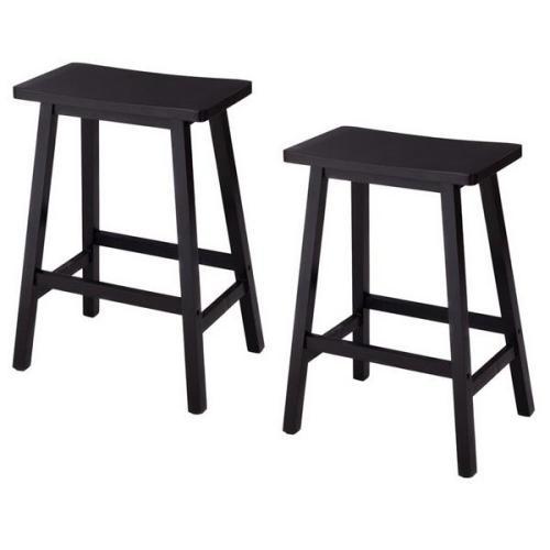 2pcs Pine Wood Saddle Seat Bar Stool Black