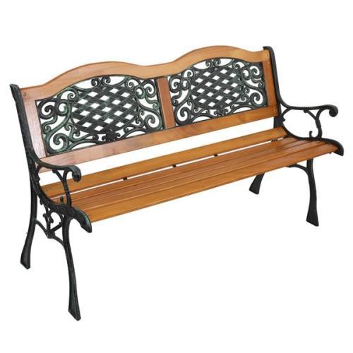 49  Garden Bench Outdoor Patio Park Chair Furniture Hardwood Slats Cast Iron Frame