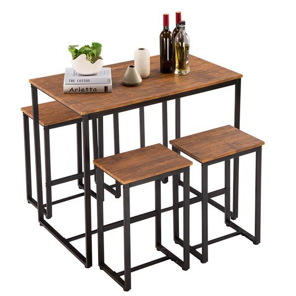 Simple Eucalyptus Pattern 87cm High Bar Table And Chair Set Of 5