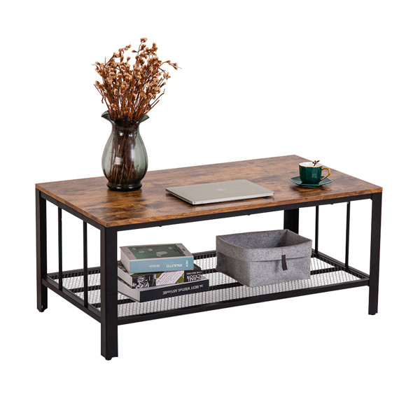 Industrial Style Double-Layer Coffee Table