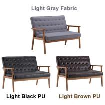 Retro Modern Wood Double Sofa Chair (Gray Fabric / Light Black PU / Light Brown PU)