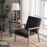 Retro Modern Wooden Single Sofa Chair (Gray Fabric / Black PU / Brown PU)