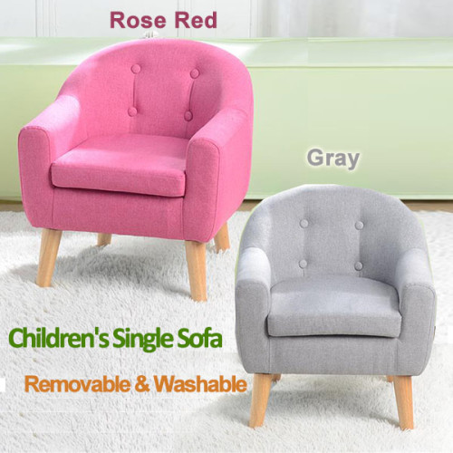 Children's Single Sofa with Sofa Cushion Removable and Washable Linen Rose Red / Gray