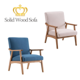 Solid Wood Retro Simple Single Sofa Chair Backrest without Buckle Navy Blue  / Beige (67x72.5x82cm)