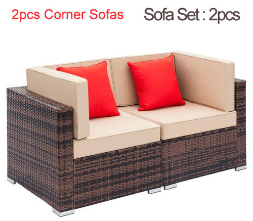 Fully Equipped Weaving Rattan Sofa Set with 2pcs ~ 6pcs Sofas & 1 pcs Coffee Table Black Embossed - Woven Rattan