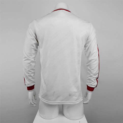 Manchester United white Long Sleeve Retro Jersey 1986
