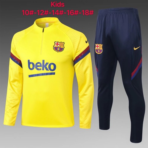 Barcelona Kids Training Jersey Suit 20/21 Yellow