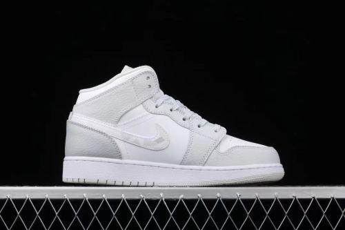 """Air Jordan 1 Mid GS """"Grey Camo""""小Dior 迷彩 AJ1 乔1白灰迷彩 中邦篮球鞋 DD3235-100"""