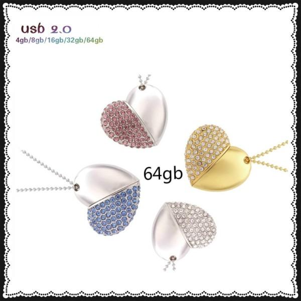 usb flash drive 64gb memory usb 2.0 metal Crystal usb stick 4gb 8gb 16gb 32gb 64gb wholesale pendrive heart pen drive for love