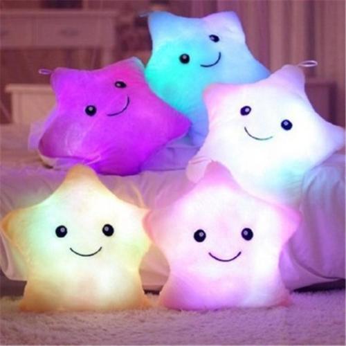 LED Flash Light Hold pillow five star Doll Plush Animals Stuffed Toys 40*35cm lighting Gift Children Christmas Gift Stuffed Plush toy