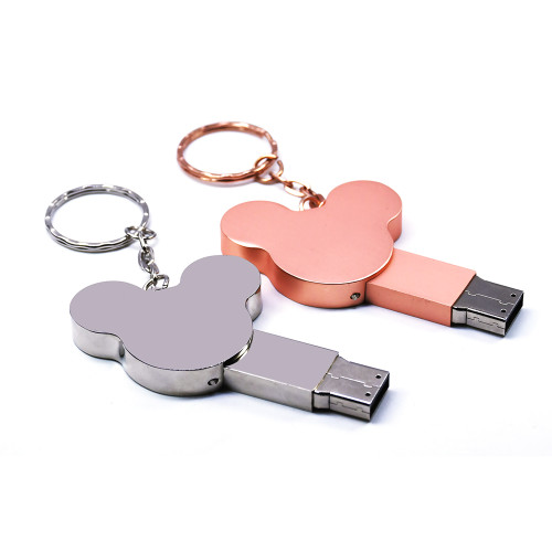 ear USB flash drive fashion16GB 8GB 32GB 4GB 64GB silver metal pendrive flash memory stick pen drive usb stick disk hot sale