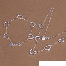 High grade 925 sterling silver Five piece Love jewelry set DFMSS186 brand new Factory direct 925 silver necklace bracelet