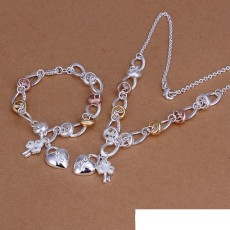 High grade 925 sterling silver Dichroic insets heart lock, flower spoon piece jewelry set DFMSS010 brand new 925 silver necklace bracelet