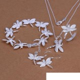 High grade 925 sterling silver Insets Dragonfly Set jewelry sets DFMSS328 Factory direct sale 925 silver necklace bracelet earring ring