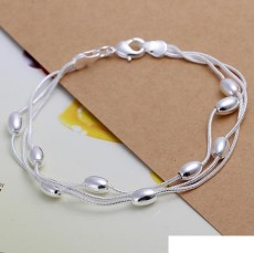 High grade 925 sterling silver Three line light bead bracelet necklace jewelry set DFMSS140 brand new Factory direct 925 silver