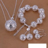 High grade 925 sterling silver Three-dimensional three-piece ball fall jewelry set DFMSS110 brand new Factory direct 925 silver