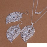 High grade 925 sterling silver Piece leaves jewelry set DFMSS0180 brand new Factory direct 925 silver necklace earring