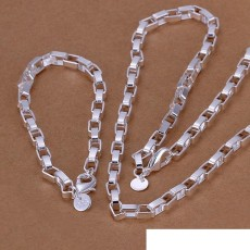 High grade 925 sterling silver Big long box chain piece jewelry set DFMSS126 brand new Factory direct 925 silver necklace bracelet