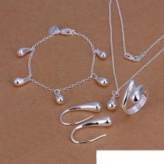High grade 925 sterling silver Drops suit jewelry set DFMSS223 brand new Factory direct 925 silver necklace bracelet earring ring