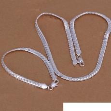 High grade 925 sterling silver '5MM piece full side chain jewelry set DFMSS085 brand new Factory direct 925 silver necklace bracelet