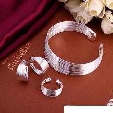 High grade 925 sterling silver Set multi-line bracelet jewelry sets DFMSS312 brand new Factory direct sale 925 silver bracelet earring ring