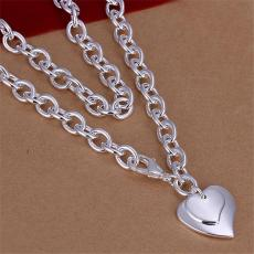 Hot sale Double Heart brand Crude necklace sterling silver plate necklace STSN252,wholesale fashion 925 silver Chains necklace