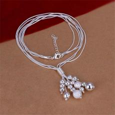 three line Bead bundle necklace sterling silver plate necklace STSN186,wholesale fashion 925 silver Chains necklace factory direct sale