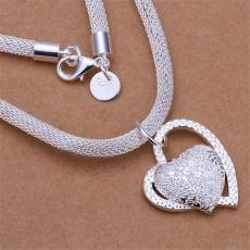 Hot sale Hanging double heart necklace sterling silver plate necklace STSN270,wholesale fashion 925 silver Chains necklace factory direct