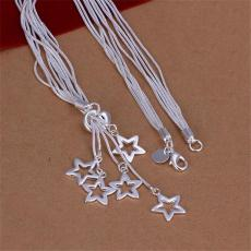 Hot sale five empty stars necklace sterling silver plate necklace STSN152,wholesale fashion 925 silver Chains necklace factory direct sale