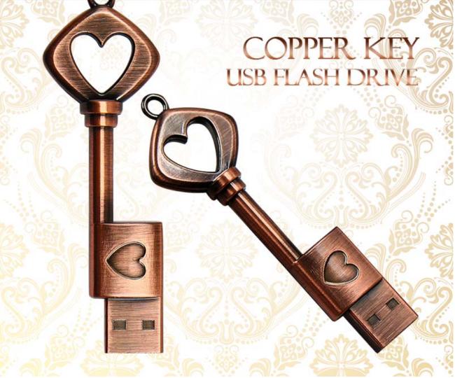Heart Key USB Flash Drive Metal U Disk Retro Key Shape Stick Drive Gifts Flash Creative Memory PC USB For Notebook Laptop