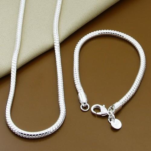Fine 40-60cm 925 Sterling Silver solid Snake Necklace Bracelet Fashion Jewelry For Women Men Brand Sets Fashion Charm Wedding