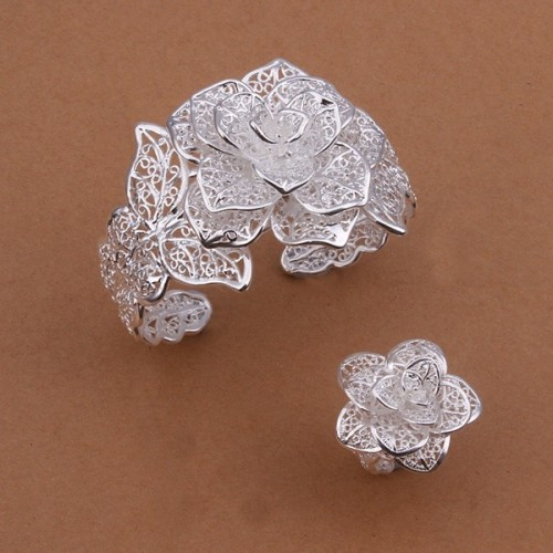 Selling wedding jewelry charm exquisite hollow large flower bracelets ring fashion Silver color jewelry Set S449