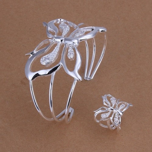 Factory direct female exquisite charm A wedding stone butterfly Bracelet ring fashion Silver color jewelry Set S260