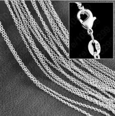 5pcs  925 sterling silver plated thin chain necklace size 1mm 16-24 inche SC01 Hot 925 silver plated Woman Lobster Clasps Smooth Chain jewelry