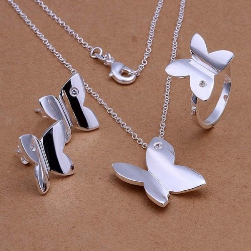 925 Silver wedding jewelry cute Women lady girl gift butterfly pendant necklace Stud Earrings Ring Silver color jewelry Set