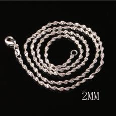 5pcs 925 sterling silver plated 2MM double water wave chain necklace size 16-24 inch SC16 925 silver plated Lobster Clasps Smooth Chain jewelry