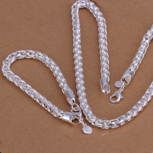 fashion Silver color jewelry Set retro exquisite Men Women 6mm chain twisted necklace bracelets wedding noble gifts S059