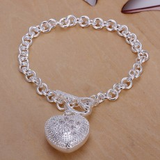 925 Sterling Silver Bracelet for women 8inches popular valentine gift beautiful Jewelry romantic inlaid stone heart Bracelets