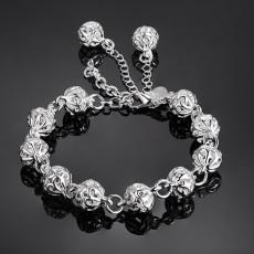 100% 925 Sterling silver Beautiful bracelets noble top pretty fashion Wedding Party cute lady nice Ball women bracelet jewelry