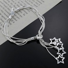 wholesale 5pcs  925 sterling Silver star cute chain women lady noble nice bracelet fashion charm jewelry wedding noble party