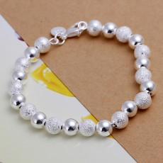 high quality fashion 8MM chain 925 Sterling Silver Jewelry charm bead Bracelet women lady wedding party free shipping