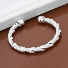 5PCS lady wedding Christmas gift Silver color jewelry retro fashion women personality twisting line net round bracelet B020