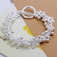 925 Sterling silver Bracelets chram solid chain beads fashion beautiful top quality women wedding Jewelry free shipping