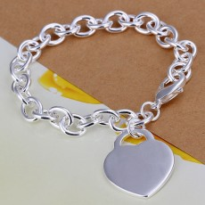 5PCS valentine gift 925 Sterling Silver Jewelry Bracelets Charms heart cute women gifts wedding chain nice Girl
