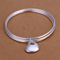 925 Sterling silver bangle favorite Valentine's Day gift fashion jewelry wedding round circle hanging heart bracelet lady girl