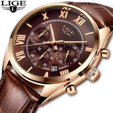 LIGE Watch For Men Top Brand Luxury Waterproof 24 Hour Date Quartz Clock Brown Leather Sports WristWatch Relogio Masculino 2021