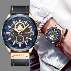 Watches Mens Branded Luxury Casual Leather Strap Sport Quartz Wristwatch Chronograph Clock Male Creative Design Dial
