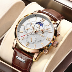 Fashion Leather Waterproof Luminous Top Brand Luxury Mens Quartz Wristwatch Men Relogio Masculino+box