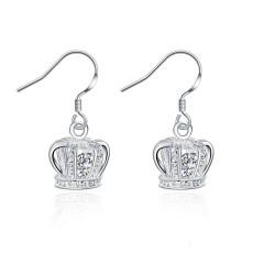 Crown earrings insets DFMSE081,women's 925 silver Dangle Chandelier earrings