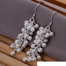 sterling silver plated Frosted grape bead earrings DFMSE007,women's 925 silver Dangle Chandelier earrings